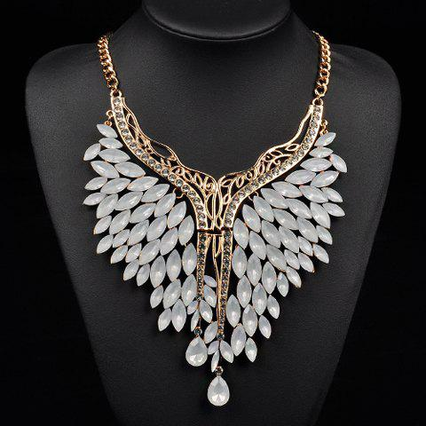 Fake Crystals Rhinestone Wings Necklace - NATURAL WHITE LIGHT