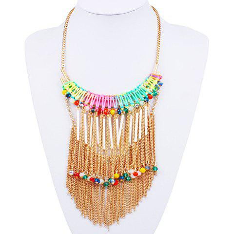 Rhinestone Alloy Bar Chains Fringed Necklace - COLORMIX