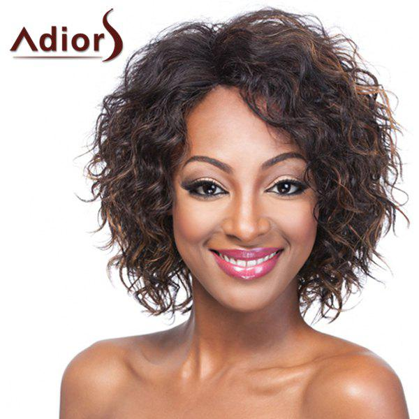 Fluffy Curly Capless Vogue Brown Highlight Short Synthetic Adiors Wig For Women - COLORMIX
