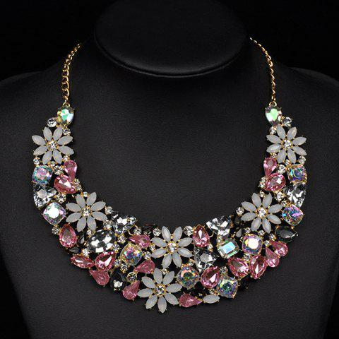 Gorgeous Faux Crystals Rhinestone Floral Geometric Necklace For Women