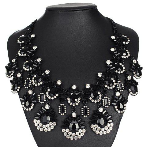 Alloy Rhinestone Water Drop Geometric Necklace - BLACK