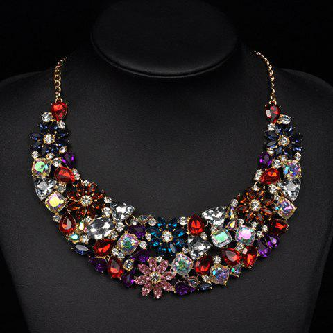 Faux Crystals Flower Statement Necklace - COLORMIX