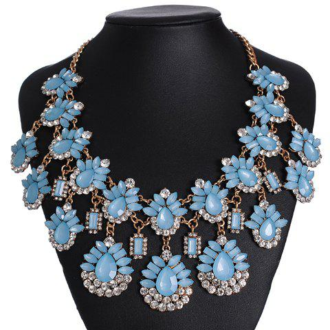 Rhinestone Teardrop Geometric Necklace - BLUE
