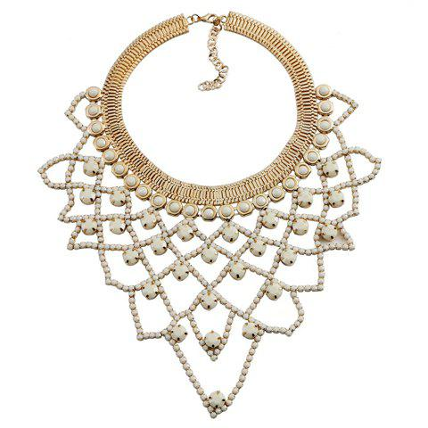 Irregular Grid Rhinestones Hollow Out Necklace - WHITE