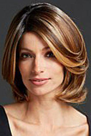 Fluffy Wave Side Bang Capless Elegant Medium Side Bang Synthetic Wig For Women - COLORMIX