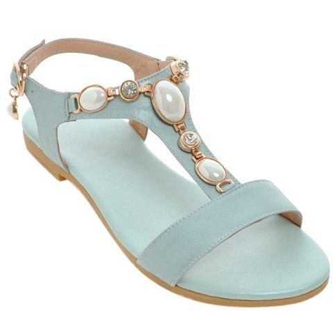 Casual Beading and T-Strap Design Women's Sandals - 38 LIGHT BLUE