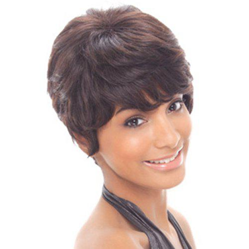 Stylish Dark Brown Mixed Synthetic Short Natural Straight Capless Wig For Women - COLORMIX