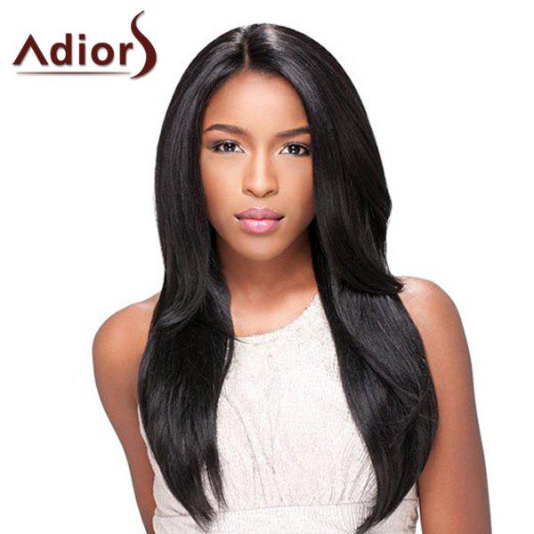 Vogue Centre Parting Synthetic Long Layered Straight Black Adiors Wig For Women