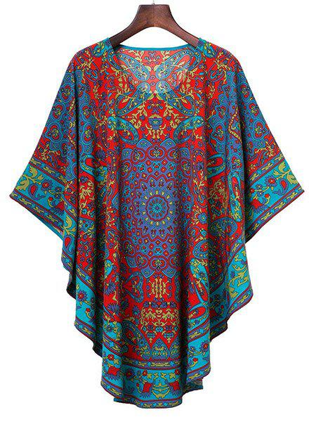 Stylish Women's Scoop Neck Flower and Leaves Print Batwing Dress