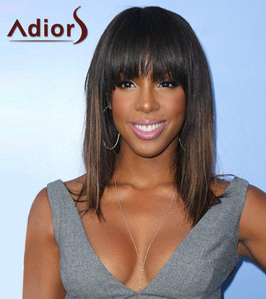 Attractive Full Bang Long Synthetic Silky Straight Black Brown Ombre Women's Adiors Wig