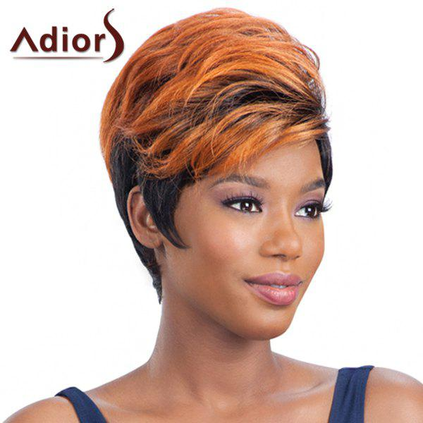 Stylish Orange Ombre Black Synthetic Fluffy Straight Side Bang Women's Adiors Wig - BLACK/ORANGE
