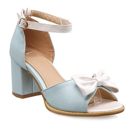 Fashionable Ankle Strap and Bow Design Women's Sandals - LIGHT BLUE 38