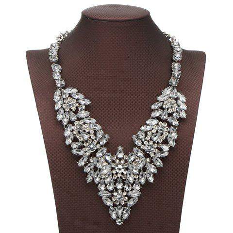 Rhinestone Faux Crystal Flower Petal Necklace - WHITE