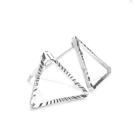 Pair of Hollowed Triangle Alloy Earrings - SILVER