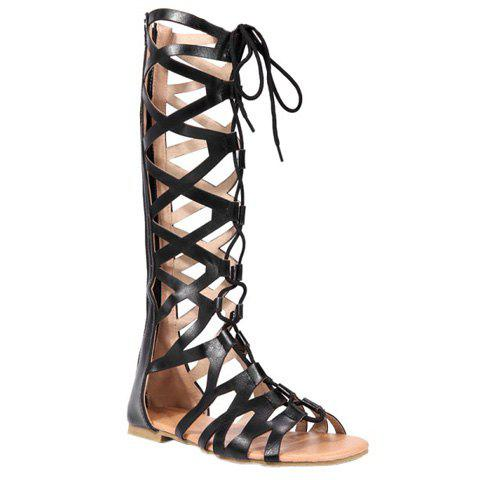 Leisure Lace-Up and Solid Colour Design Women's Sandals - BLACK 38