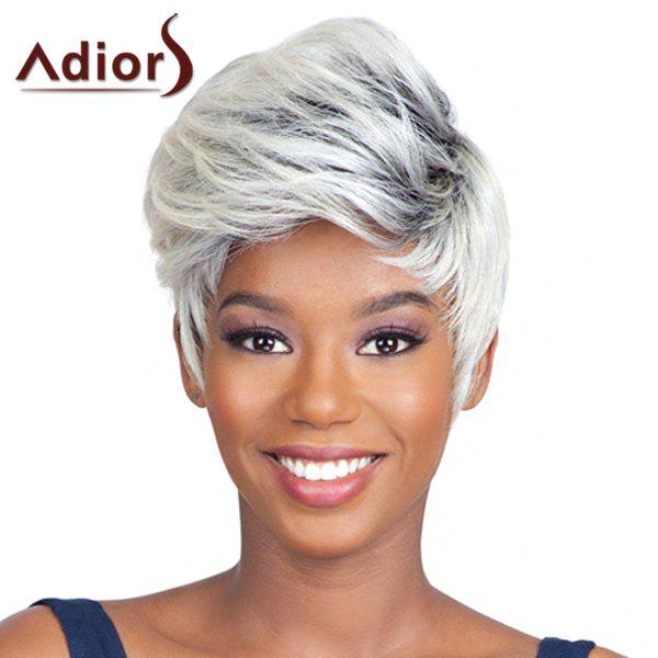 Fluffy Straight Spiffy Short Mixed Color Capless Adiors Wig For Women - COLORMIX