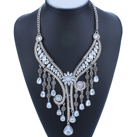 Flower Faux Crystal Water Drop Fringed Necklace - SILVER