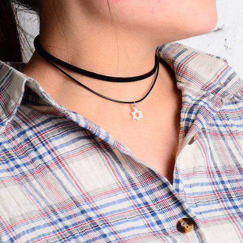 Chic Hollow Hexagram Pendant Embellished Women's Black Double Chokers Chain