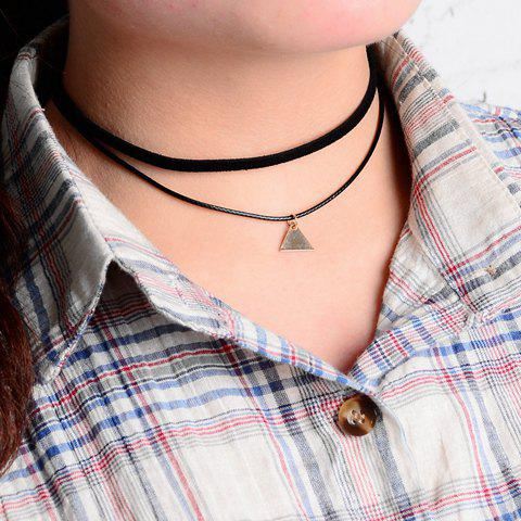 Triangle Pendant Double Layered Chokers - BLACK