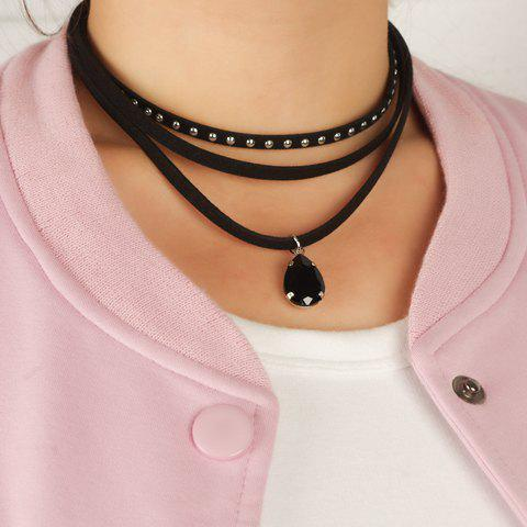 Rivet Water Drop Faux Gem Layered Choker - BLACK