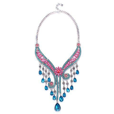 Gorgeous Faux Gem Floral Water Drop Tassel Necklace For Women - COLORMIX