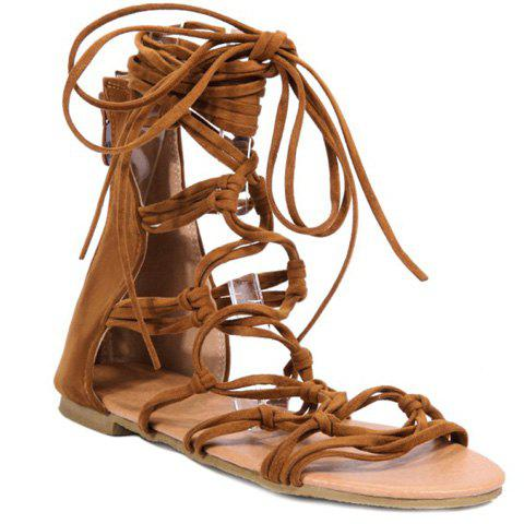 Leisure Cross Straps and Flock Design Women's Sandals - BROWN 35