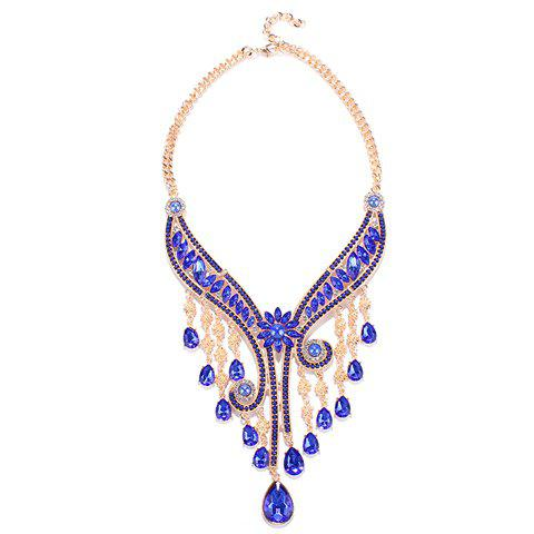 Faux Gem Flower Water Drop Fringed Necklace - BLUE
