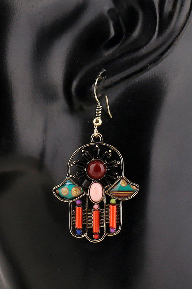 Pair of Resin Inlay Hollow Out Ethnic Style Earrings - RED