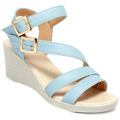 Trendy Double Buckle and PU Leather Design Women's Sandals - LIGHT BLUE 35