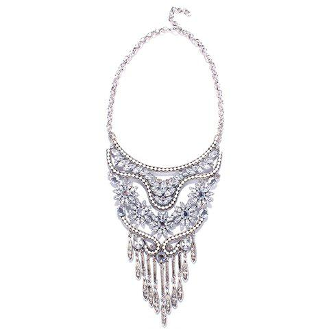 Gorgeous Artificial Crystal Flower Leaf Tassel Necklace For Women