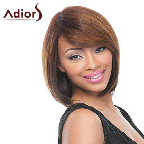 Noble Brown Mixed Capless Straight Side Bang Synthetic Wig For Women - BROWN