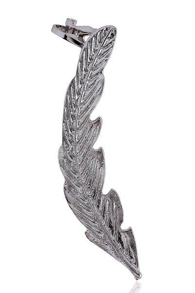Pair of Chic Alloy Feather Cartilage Earrings For Women - SILVER