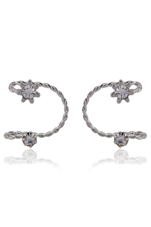 Pair of Chic Rhinestone Sunflower Cartilage Earrings For Women - SILVER