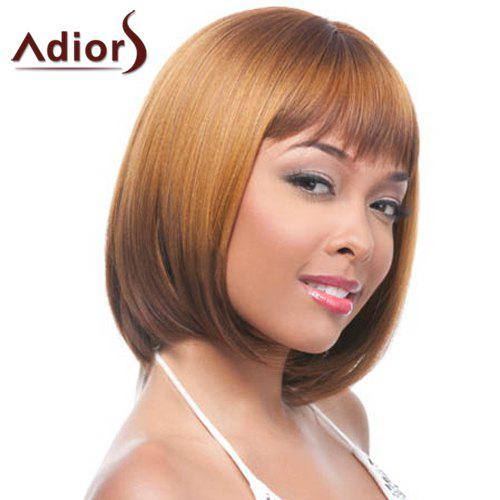 Stylish Brown Short Synthetic Straight Full Bang Capless Adiors Wig For Women - BROWN