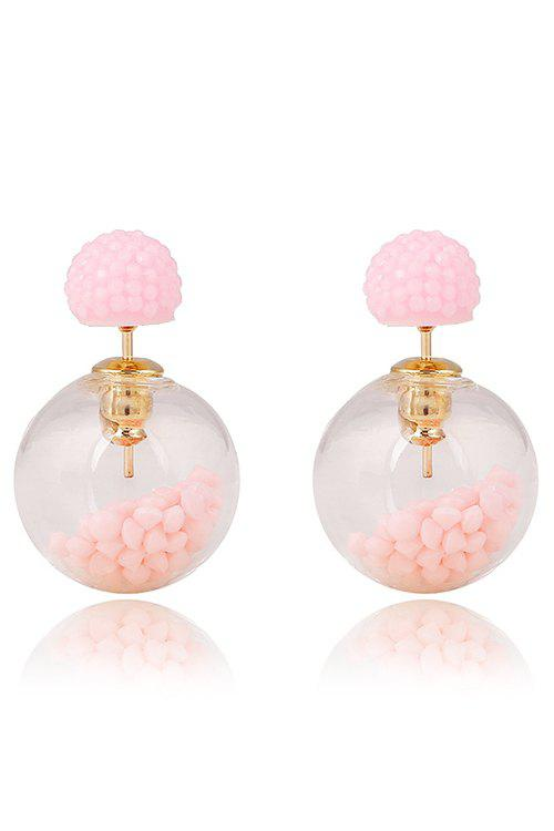 Pair of Resin Small Ball Pendant Stud Earrings - PINK