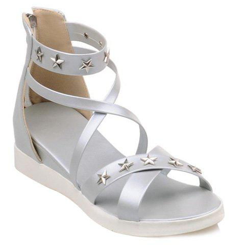 Trendy Metal and Cross Straps Design Women's Sandals - SILVER 37