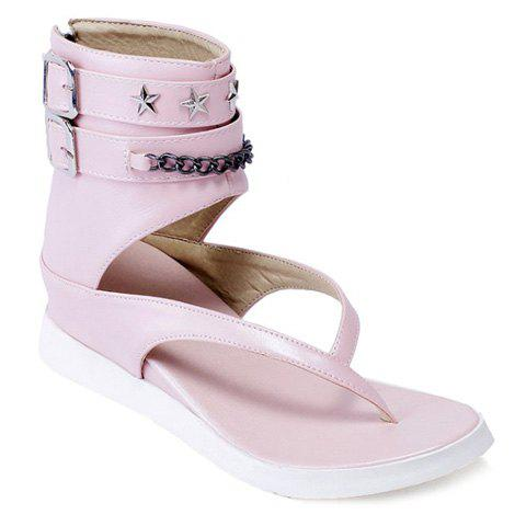 Stylish Double Buckle and Chain Design Women's Sandals - PINK 39