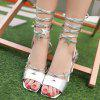 Fashion Solid Color and Lace-Up Design Women's Sandals - SILVER 38