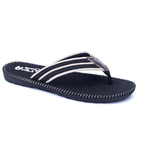 Concise Cloth and Striped Design Men's Slippers - BLACK 42