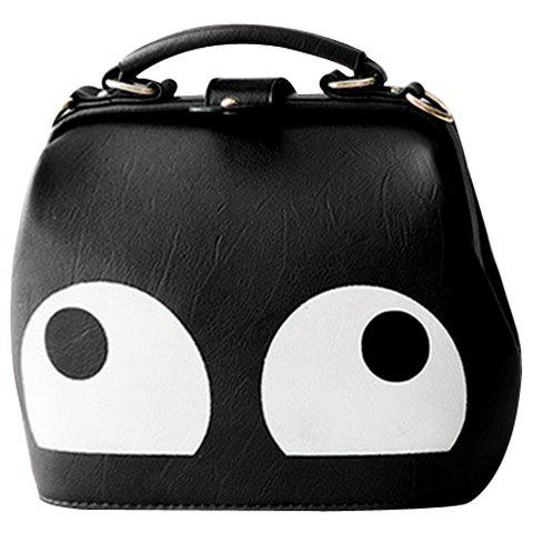Casual Colour Block and PU Leather Design Women's Shoulder Bag - BLACK