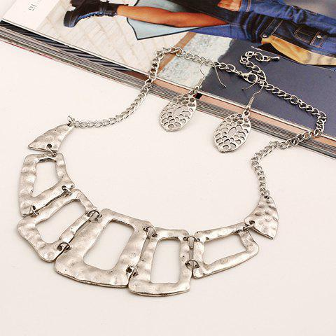 A Suit of Geometric Necklace and Earrings - SILVER