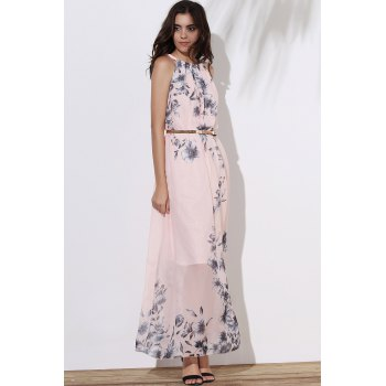 Fashionable Sleeveless Round Collar Floral Print Women's Maxi Dress - PINK M