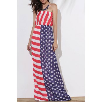 Strapless American Flag Print Floor Length Dress