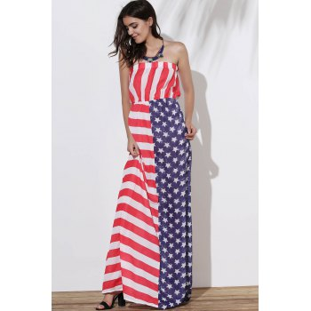 Strapless American Flag Print Floor Length Dress - COLORMIX L