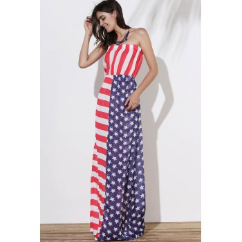 Strapless American Flag Print Floor Length Dress - COLORMIX XL