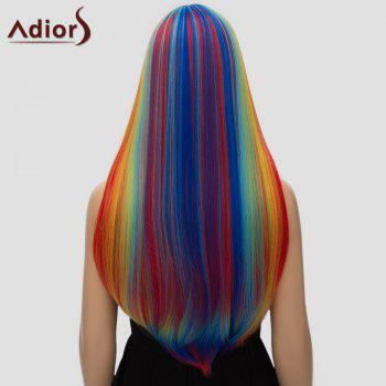 Adiors Women's Colorful Straight Long Full Bang High Temperature Fiber Cosplay Wig - COLORFUL