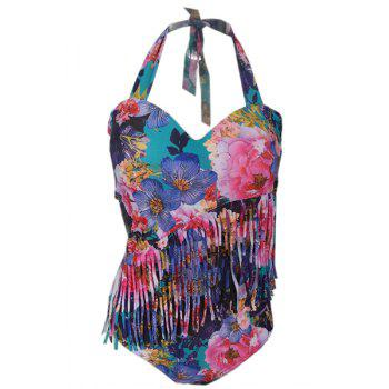 Plus Size Halter Floral Print One Piece Swimwear