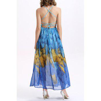 Bohemian Spaghetti Strap Backless Criss-Cross Printed Women's Dress - SAPPHIRE BLUE XL