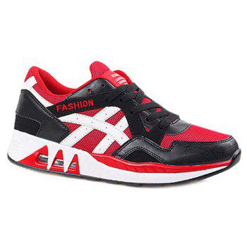 Stylish Breathable and Color Matching Design Men's Athletic Shoes - RED WITH BLACK 42