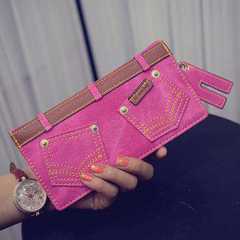 Stylish Double Pocket and Stitching Design Women's Wallet - ROSE ROSE